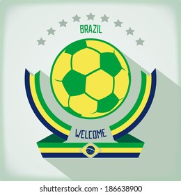 Design emblem for football In the colors of national flag Brazil. Flat vector eps 10