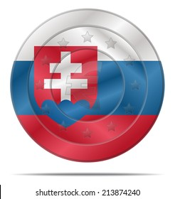 design of a euro coin with the Slovakia flag