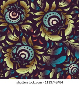 Design for fabric, wallpaper, background, invitation, wrapping and book covers. Damask seamless pattern in brown and blue colors. Hand drawn illustration. Vector vintage floral ornament.