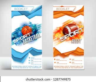 the design of the finished leaflet on the theme of sport, Rugby and basketball, the new paper style layers surround