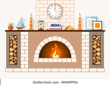 The design of the fireplace. Room with a large brick fireplace with chimney, mantel decorations and souvenirs. Vector illustration.