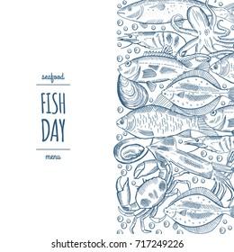 Design a fish menu template for the restaurant menu. Vector illustration