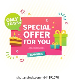 Design of a flat banner for birthday individual special offer. A sale card for online shopping with a decor of gifts and piece of cake. Vector