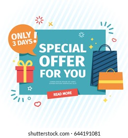 Design of a flat banner for an individual special offer. A sale card for online shopping with a decor of gifts and shopping bags. Vector