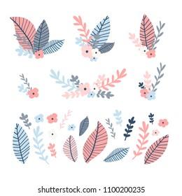 Design flower set. Illustration with bouquet leaf and floral and brunch. Collection pink and blue natural decoration. Summer flower element. Vector.