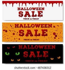 Design of the flyer with halloween sale inscription on pumpkin orange color background. Template of poster with red spots, drips and splashes and bloody font. Vector illustration