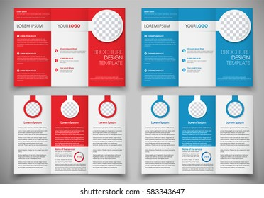 Design folding brochures for print. Template flyer red and blue colors, with round elements for photos.