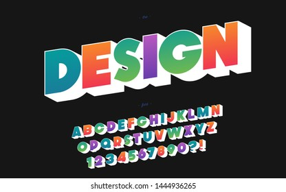 Design font 3d bold style for banner, infographics, motion graphic, party poster, kids book, t shirt, flyer, decoration, printing on fabric, industrial. Cool typeface. Trendy alphabet. Vector 10 eps