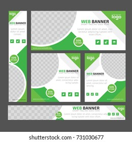 Design For Food Web banners of different standard sizes. Templates with round place for photos, buttons. Vector illustration. Set.