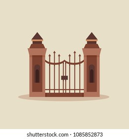 Design of forged gate. Flat logotype of stone fence.