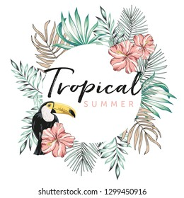 Design frame with toucan, palm leaves, text Tropical summer, white background. T shirt, card, poster template. Vector illustration. Summer beach floral design with bird