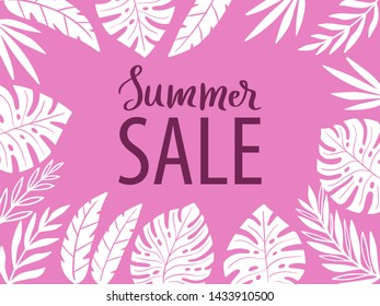 Design frame for your text with tropical exotic leaves. Summer sale text. Hawaiian style. Perfect template for invitation, poster, banner, label etc. Vector illustration