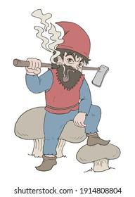 Design of funny gnome smoking