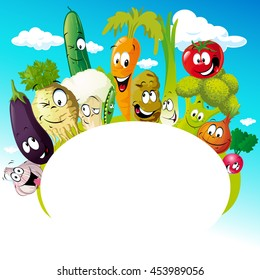 design with funny vegetable cartoon - vector illustration - empty frame