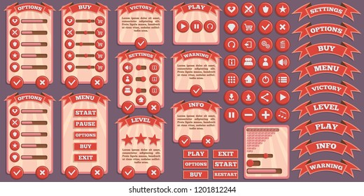 Design of the game user interface. Vector illustration.