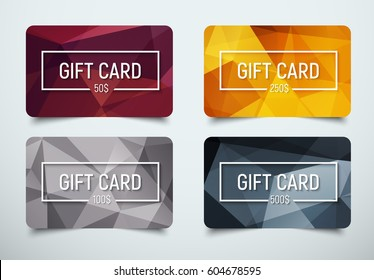 Design a gift card with a frame for text and denomination. Templates with a polygonal abstract background for bronze, silver, gold and platinum levels. Vector illustration