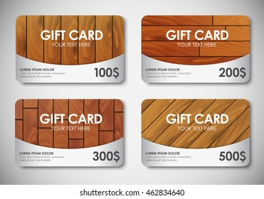 Design Gift Card with a wooden texture. Templates of ratings and different colors. Vector illustration. Set