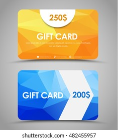 Design gift cards of different values. Templates with a yellow and blue background polygon and arrow. Set