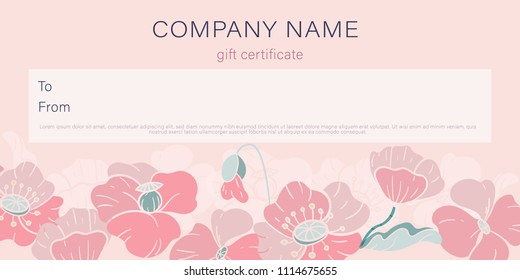 Design a gift certificate with a frame of decorative poppies. Flat style. Pastel colors. Vector.