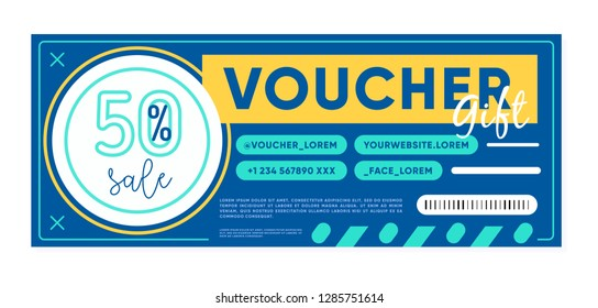 Design of gift voucher of blue color with 50% discount offer during sale in shop