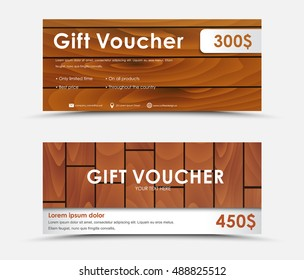 Design gift voucher of different values. Template with a wooden texture. Vector illustration. Set