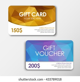 Design gold gift card, and the blue polygon voucher;  of $ 150 face value, 200. Vector illustration. Set