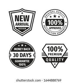 Design graphic badge logo vector set in retro vintage style. New arrival. 100% approved. 30 days money back guarantee. Premium quality. Promotion sticker. Retro vintage emblems. Black & white colors.