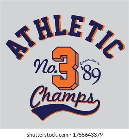 design graphic vector athletic champs for t-shirt