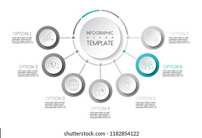Design of gray infographic with icons. Vector.