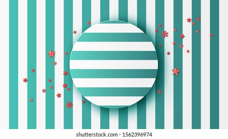 Design green alternate white pattern and snowflakes, stars decorated for Christmas with circle frame. Christmas background. paper cut and craft style. vector, illustration.