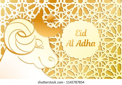 Design of the greeting card Eid Al Adha. Lamb carved from a background of an ornament. White and gold colors. Festive text.