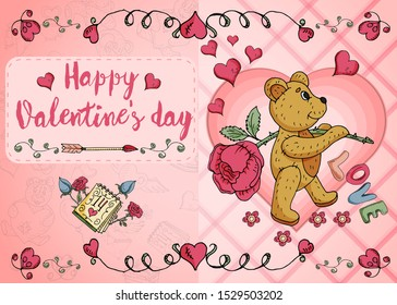 design of greeting card layout on the theme of love and Valentines day little bears flowers and hearts in the style of childrens Doodle vector EPS 10