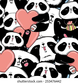 design greeting card for valentine's day. panda. heart. black and white bear. vector. illustration. panda seamless. happy birthday package