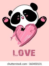 design greeting card for valentine's day. panda. heart. black and white bear. vector. illustration.
