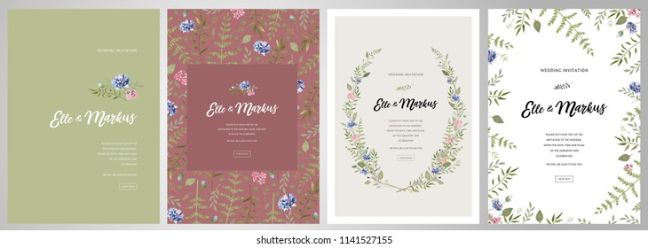 Design greeting card \ wedding invitations, floral frames for your vintage posters and backgrounds with elements of meadow flowers, leaves and a cornflower