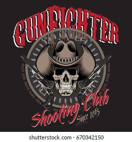 Design Gunfighter. Skull in cowboy hat, two crossed gun and bullets, isolated on black, vector illustration, eps-10