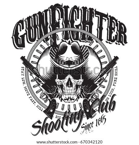 88927c956eb Design Gunfighter Skull Cowboy Hat Two Stock Vector (Royalty Free ...