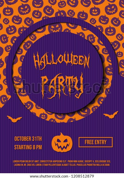 Design Halloween Party Invitation Card Pumpkins Stock Vector ...