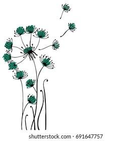 Design of Hand drawn doodle Dandelion flowers set on white background. Illustration