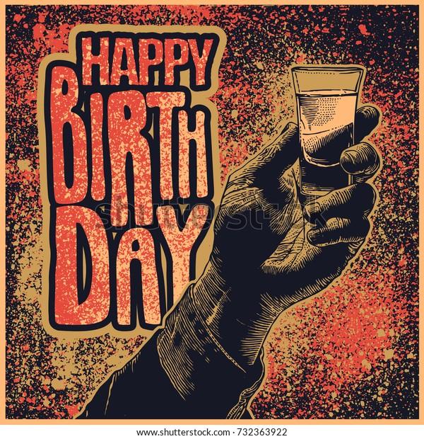 Design Happy Birthday Male Hand Holding Stock Vector