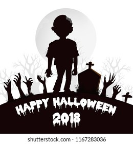Design of Happy Halloween 2018 text for halloween day and card or background