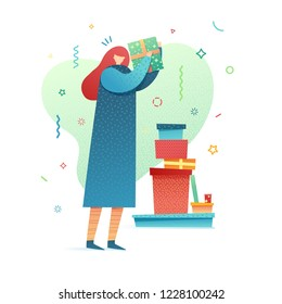 Design happy new year illustration young woman in dress wrapping presents. Cute flat female character for christmas banner  in a modern style. Happy holiday poster with gift. Vector