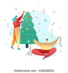 Design happy new year illustration young girl and boy decorates a christmas tree. Cute flat family character for christmas banner in modern style. Happy holiday poster with friends vacation. Vector