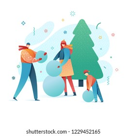 Design happy new year illustration family making a snowman. . Cute flat parents and kids character in a modern style. Happy holiday poster with winter activity outdoors. Vector