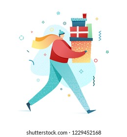 Design happy new year illustration young man buys gifts. Winter outdoors. Cute flat male character in a modern style in scarf and hat with present. Happy holiday shopping poster. Vector.