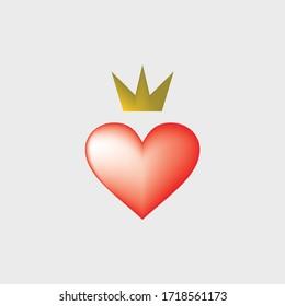 Design heart with crown, vector illustration, love icon, heart vector icon, love symbol