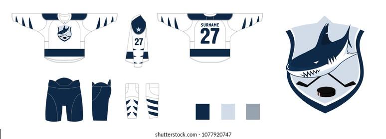 design hockey uniform - style sharks logo hockey team - pattern cutting for sewing - Hockey sweater and hockey leg warmers, gaiters