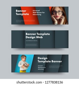 Design of horizontal vector web banners in the style of material design with a place for photo and text. Template in black with blue and red soaring elements.