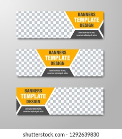 Design of horizontal vector web banners with place for photo and dividing hexagon. Standard size templates with black and yellow elements. Set
