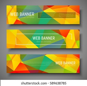 Design horizontal web banners with polygonal multi-colored background and frame for text and buttons. Vector illustration.